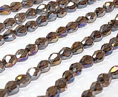 Бусины хрусталь КАПЛЯ Малая 7х5мм пачка - примерно 70 шт, цвет - коричневый прозрачный с АБ
