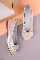 Женские балетки бежевые с бантом эко-кожа с напылением, фото 1
