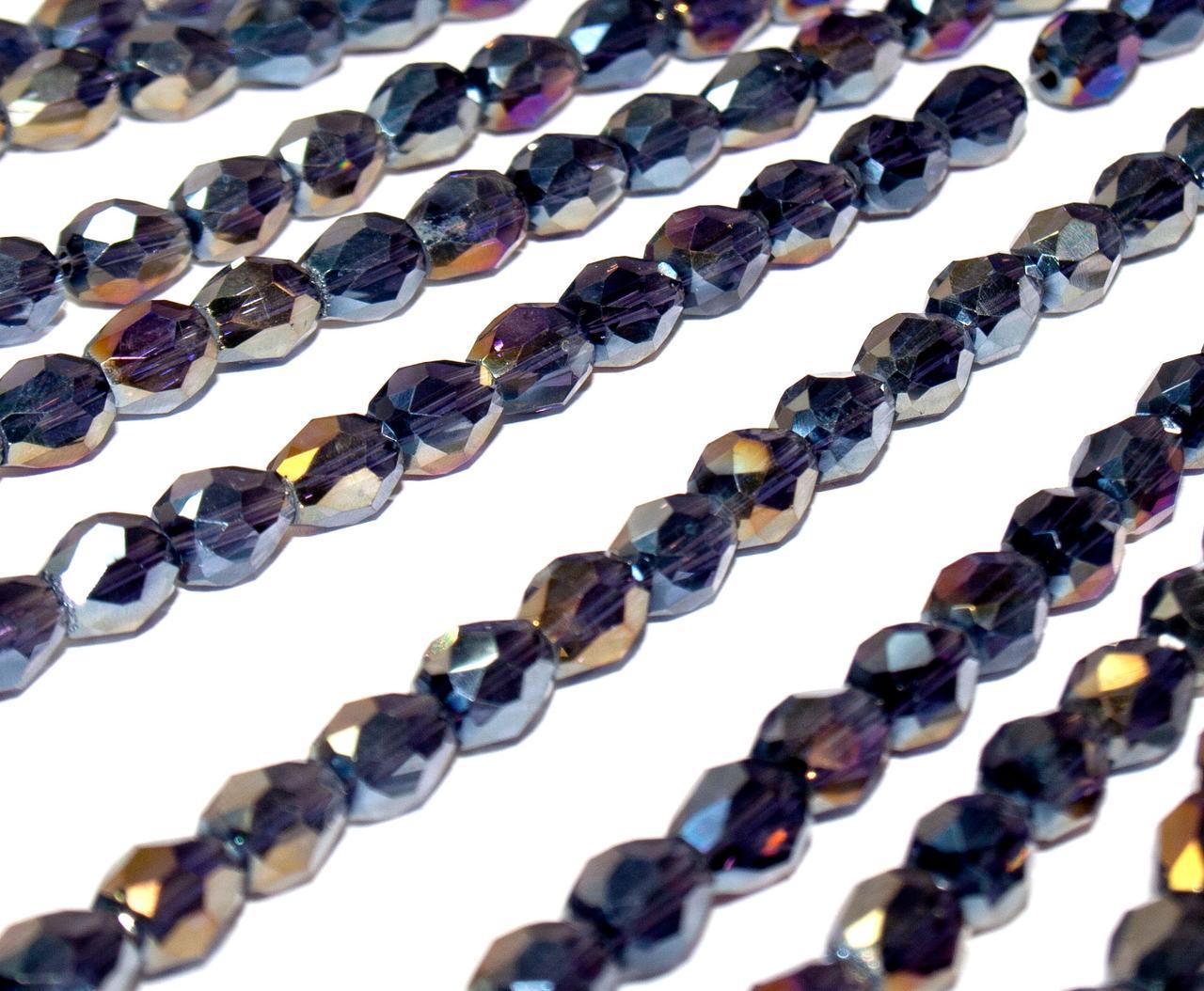 Бусины хрусталь КАПЛЯ Малая 7х5мм пачка - примерно 70 шт, цвет - темно фиолетовый прозрачный с АБ