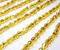 Бусины хрусталь КАПЛЯ Малая 7х5мм пачка - примерно 70 шт, цвет - желтый прозрачный