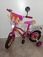"""Велосипед 12"""" дюймов 2-х колесный Azimut Winx, розовый, зеркало, звоночек, доп. колеса, катафоты"""