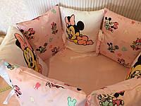 """Бортики-подушки зі зйомними чехлами в кругле ліжечко """"Міккі маус"""". 7 шт.+простинь на резинці, фото 1"""