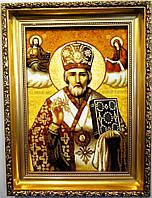 Икона с янтаря именная Николай 30х40 см