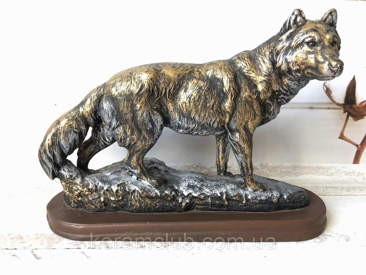 Статуетка Вовк біжить бронза