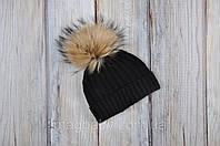 """Зимняя вязаная шапочка """"Pumpkin"""" для детей с 6 месяцев (3 размера, 42-54 см) ТМ MagBaby Черный 102746, фото 1"""