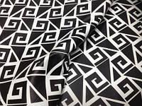 Кожа одежная овчина черно-белая геометрия, фото 1