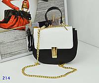 abbfd23551e3 Женская сумка Chloe (копия) черно-белого цвета, из искусственной кожи