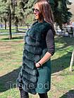 Жилетка 90 см Кашемир С Мехом Песца Изумруд 041КЛ, фото 8