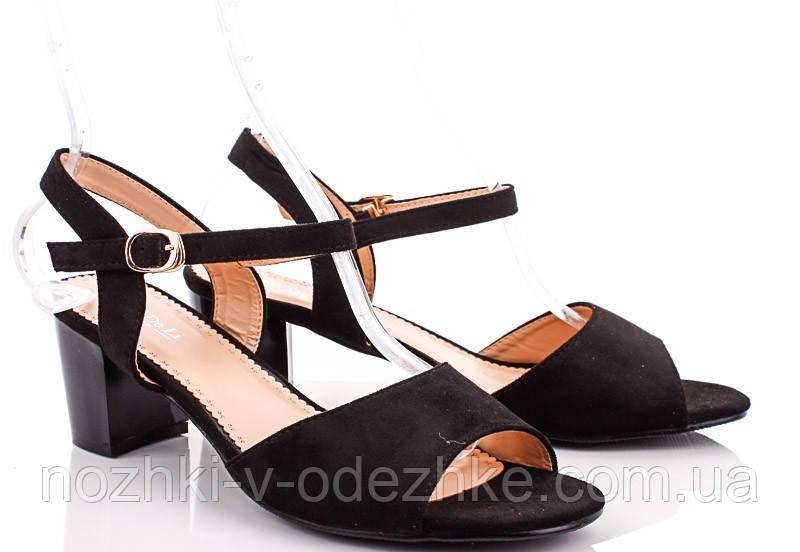 c0405ae1e Женские черные замшевые босоножки больших размеров на устойчивом каблуке 41