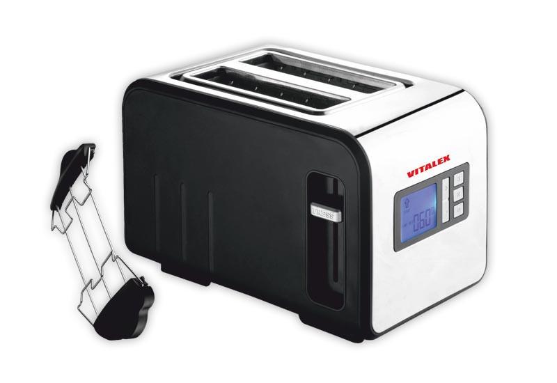 Тостер Vitalex VL-5017 на 2 отделения мощность 730 вт с лед дисплеем для крошек поддон