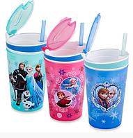 Кружка непроливайка Frozen Disney термочашка для детей с турбочкой силиконовая крышка 2 в 1