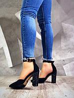 Женские замшевые туфли черного цвета Olimpia, фото 1