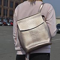 """Кожаный рюкзак-сумка (трансформер) с теснением под змеиную кожу """"Питон Bright Pink"""", фото 1"""