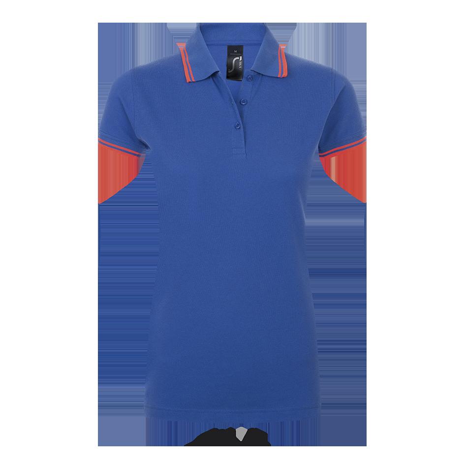 Женская рубашка-поло, ярко-синий/неон-коралловы, SOL'S PASADENA WOMEN, плотность 200 г/м2, размеры от S до XXL