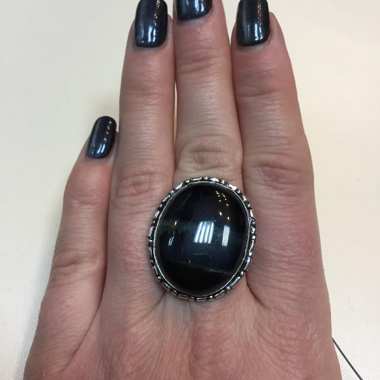 Питерсит соколиный глаз кольцо с натуральным питерситом соколиным глазом в серебре 17,5 размер Индия