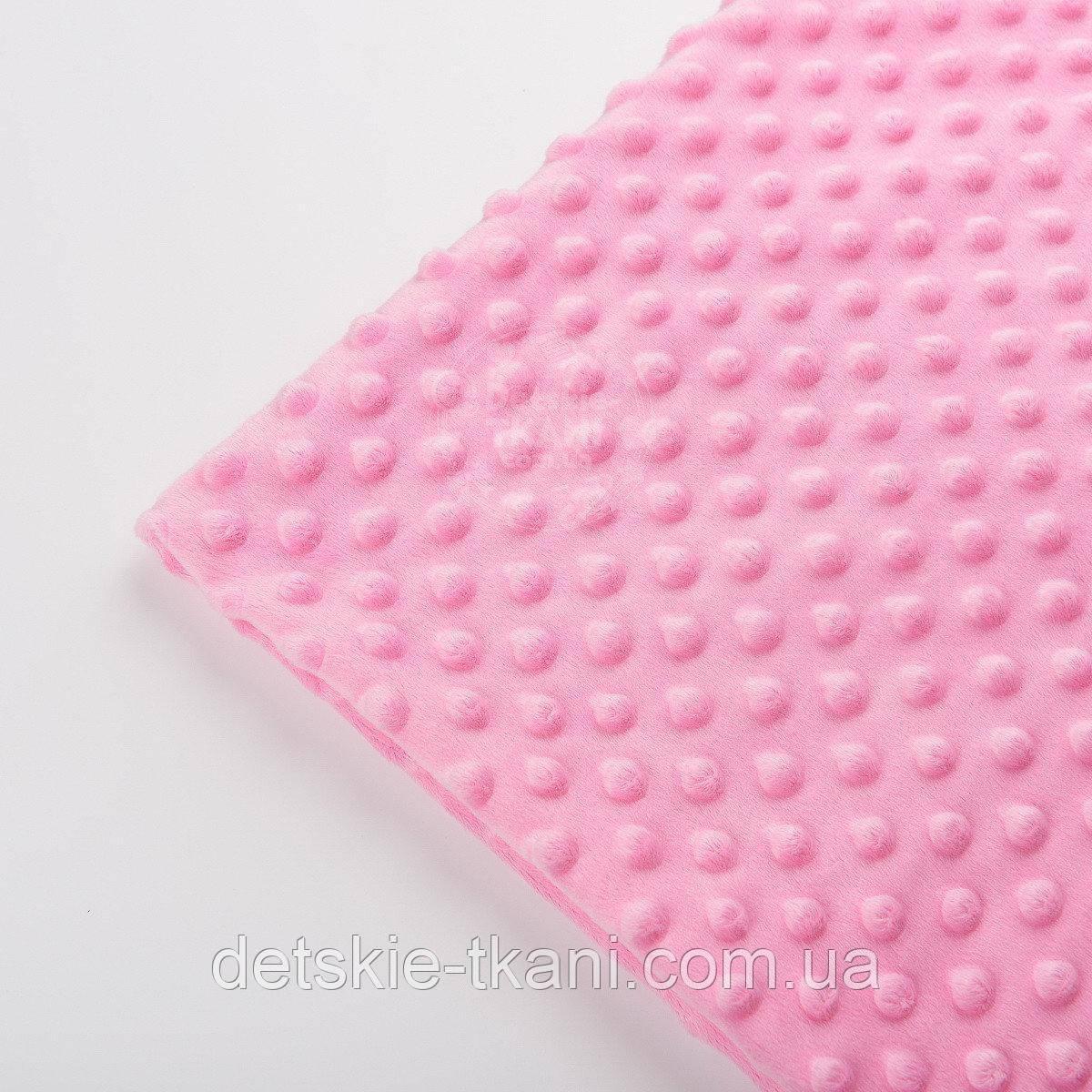Лоскут плюша  minky М-66 тёмно-розового цвета, размер 35*160 см