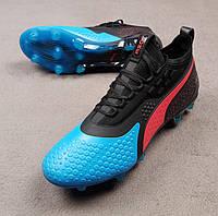 Футбольные бутсы Puma One 19.1 FG черно-синие реплика, фото 1