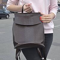 """Кожаный рюкзак-сумка (трансформер) с теснением под змеиную кожу """"Питон Brown"""", фото 1"""