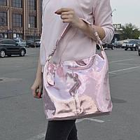 """Женская кожаная сумка с лазерным напылением  """"Лазерка Bright Pink"""", фото 1"""
