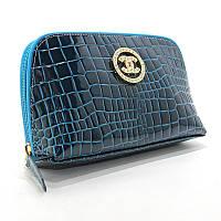 Косметичка кожаная женская клатч синяя 912, фото 1