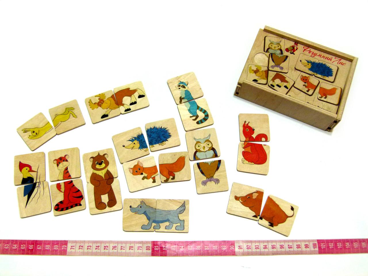 """Пазлы для детей от 2х лет Половинки Лесные животные - Производство деревянных игрушек """"Розумний Лис"""" в Одессе"""