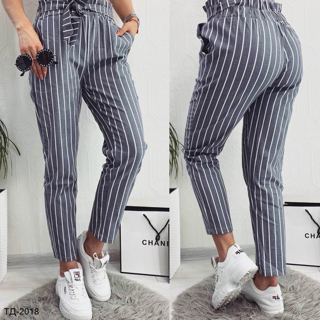 f49791b94e70 Модные женские брюки в полоску на высокой талии 2 цвета - Bigl.ua