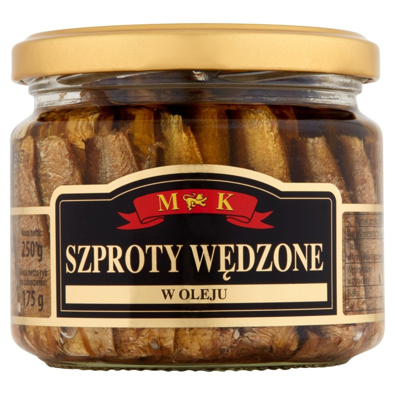 Шпроты в масле Szproty Wedzone M&K Польша в банке, 250 гр