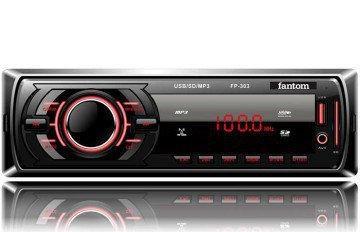 Магнитола автомобильная FANTOM FP-303 Black/Red USB/SD ресивер