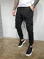 Мужские джинсы-карго черные 5207-3327