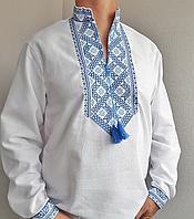 Мужская вышитая рубашка на домотканом полотне