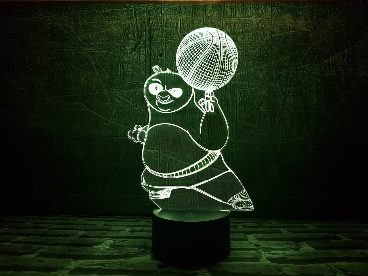 """Сменная пластина для 3D светильников """"Панда ПО"""" 3DTOYSLAMP"""