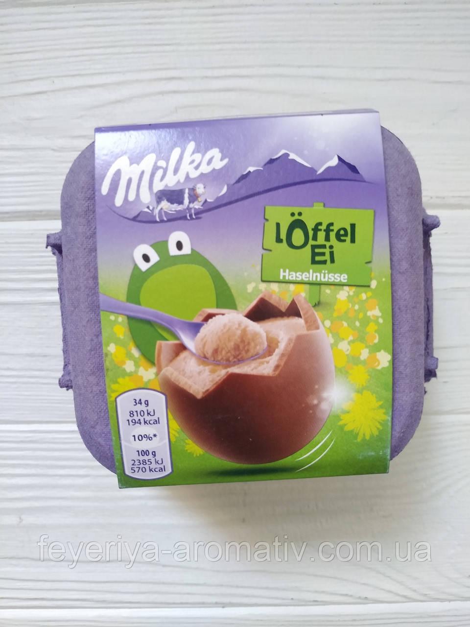Шоколадные яйца с молочной начинкой Milka Egg`n` Spoon Milk Creme 4x34гр  (Швейцария)