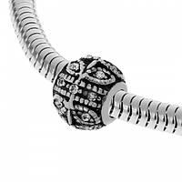 Шарм Пандора із сталі з візерунками і фіанітами 129708