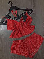 Соблазнительный красный хлопковый комплект для сна и дома. Летняя домашняя одежда