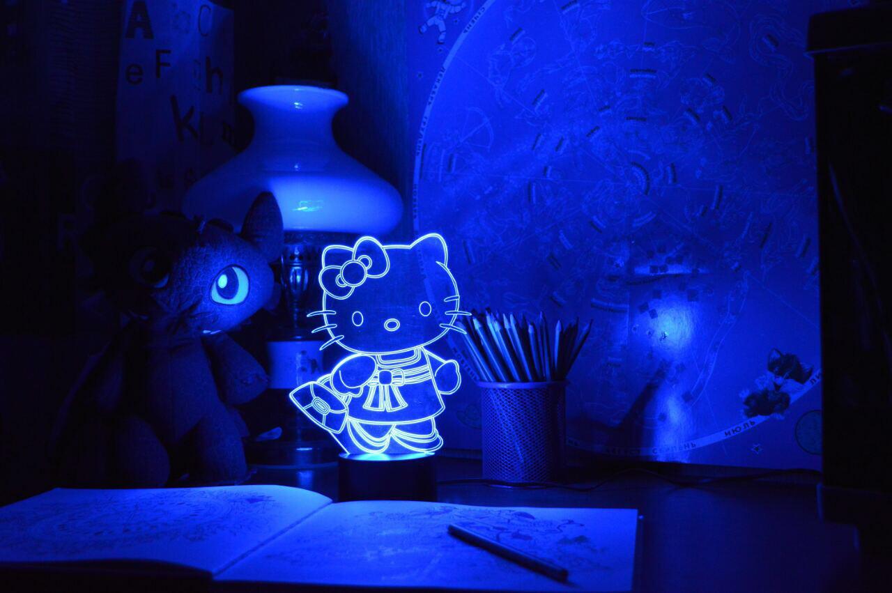 """Детский ночник для девочки """"Kitty"""" 3DTOYSLAMP"""