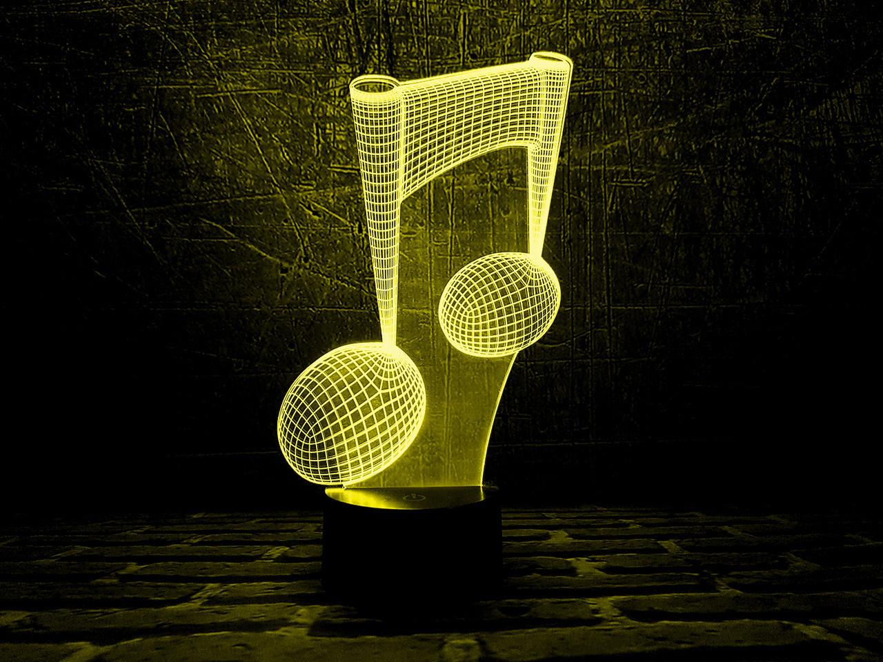 """Сменная пластина для 3D светильников """"Нота"""" 3DTOYSLAMP, фото 1"""