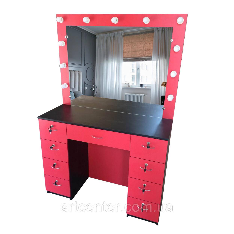 Стол для визажиста, парикмахера красно-черного цвета с зеркалом