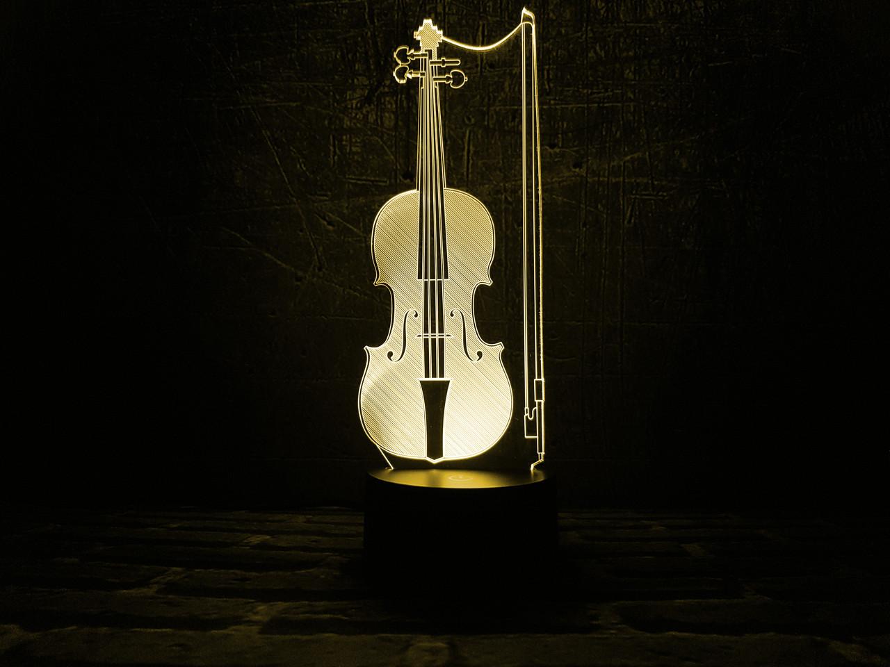 "3D ночник ""Скрипка"" 3DTOYSLAMP, фото 1"