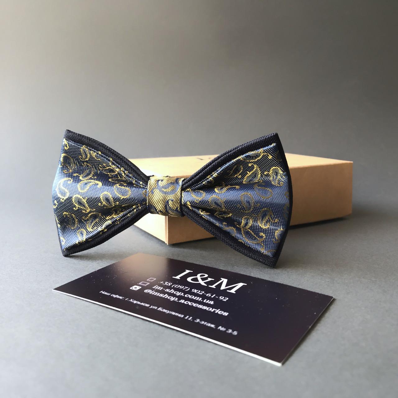Галстук-бабочка I&M Craft синий с золотистым переливом (0102004016)