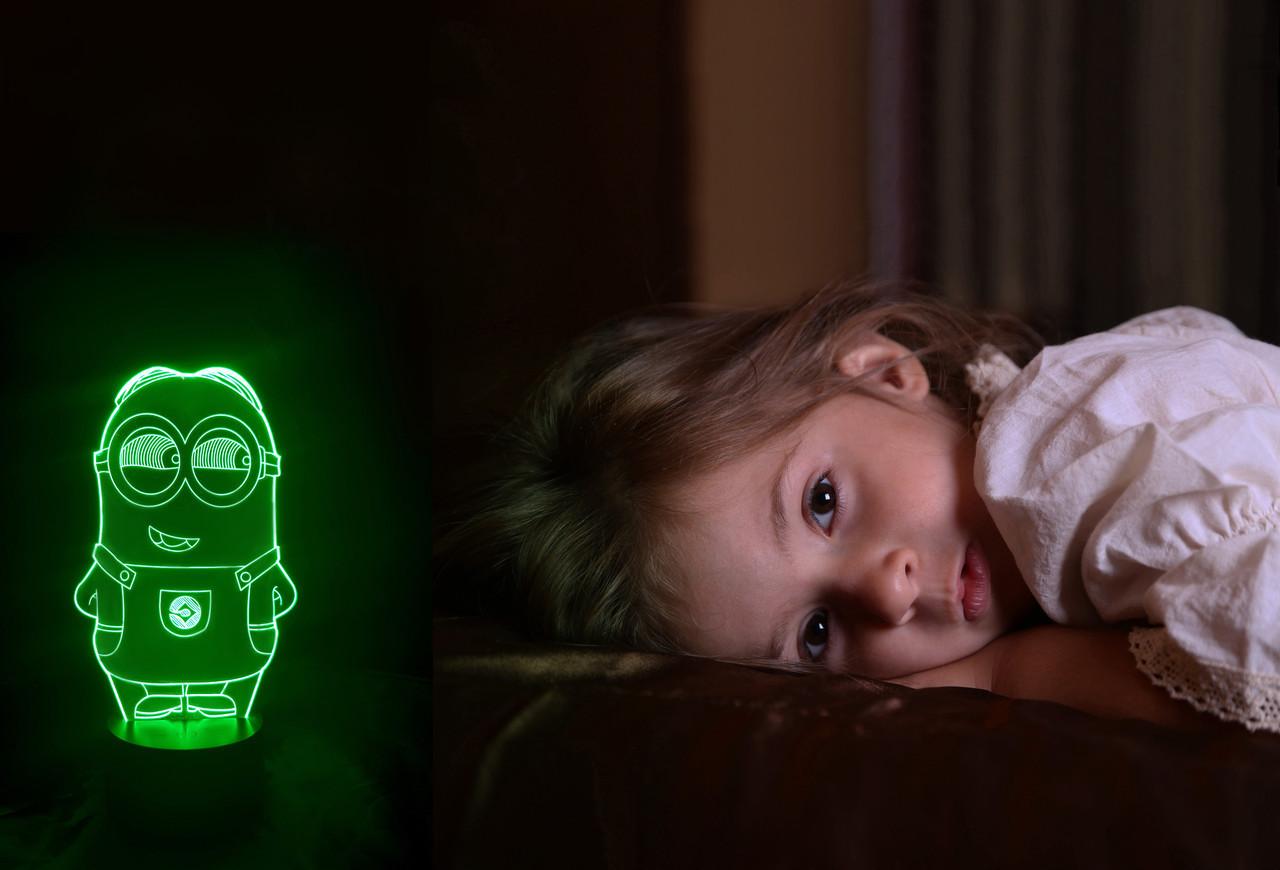 """Детский ночник - светильник """"Миньон 2"""" 3DTOYSLAMP, фото 1"""