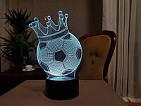 """Детский ночник - светильник """"Футбольный мяч с короной"""" 3DTOYSLAMP"""