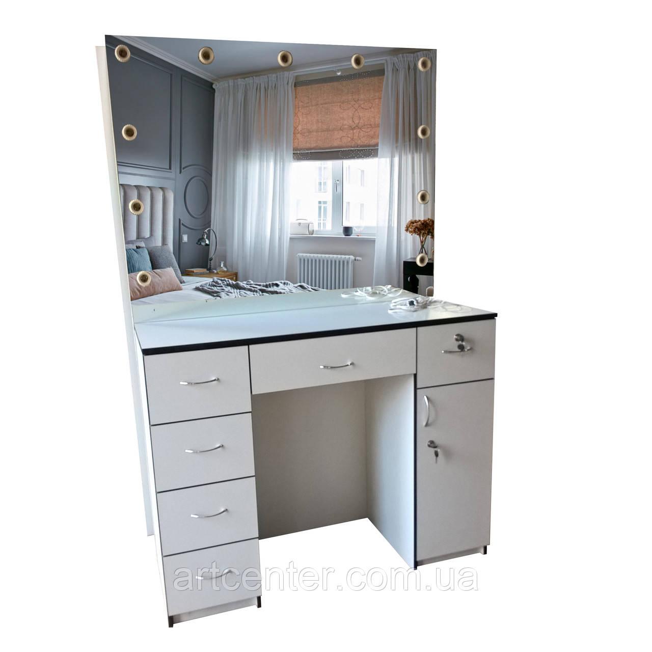 Стол для визажиста, туалетный столик с выдвижными ящиками и подсветкой зеркала