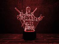 """Детский ночник - светильник """"Дэдпул 3"""" 3DTOYSLAMP, фото 1"""