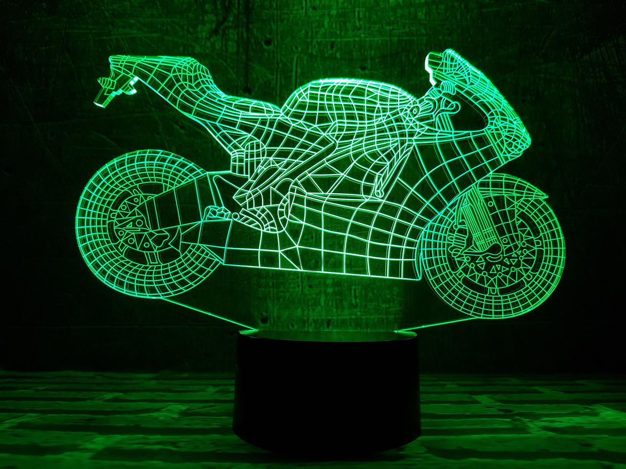 """Детский ночник - светильник """"Мотоцикл 4""""  3D TOYSLAMP, фото 1"""