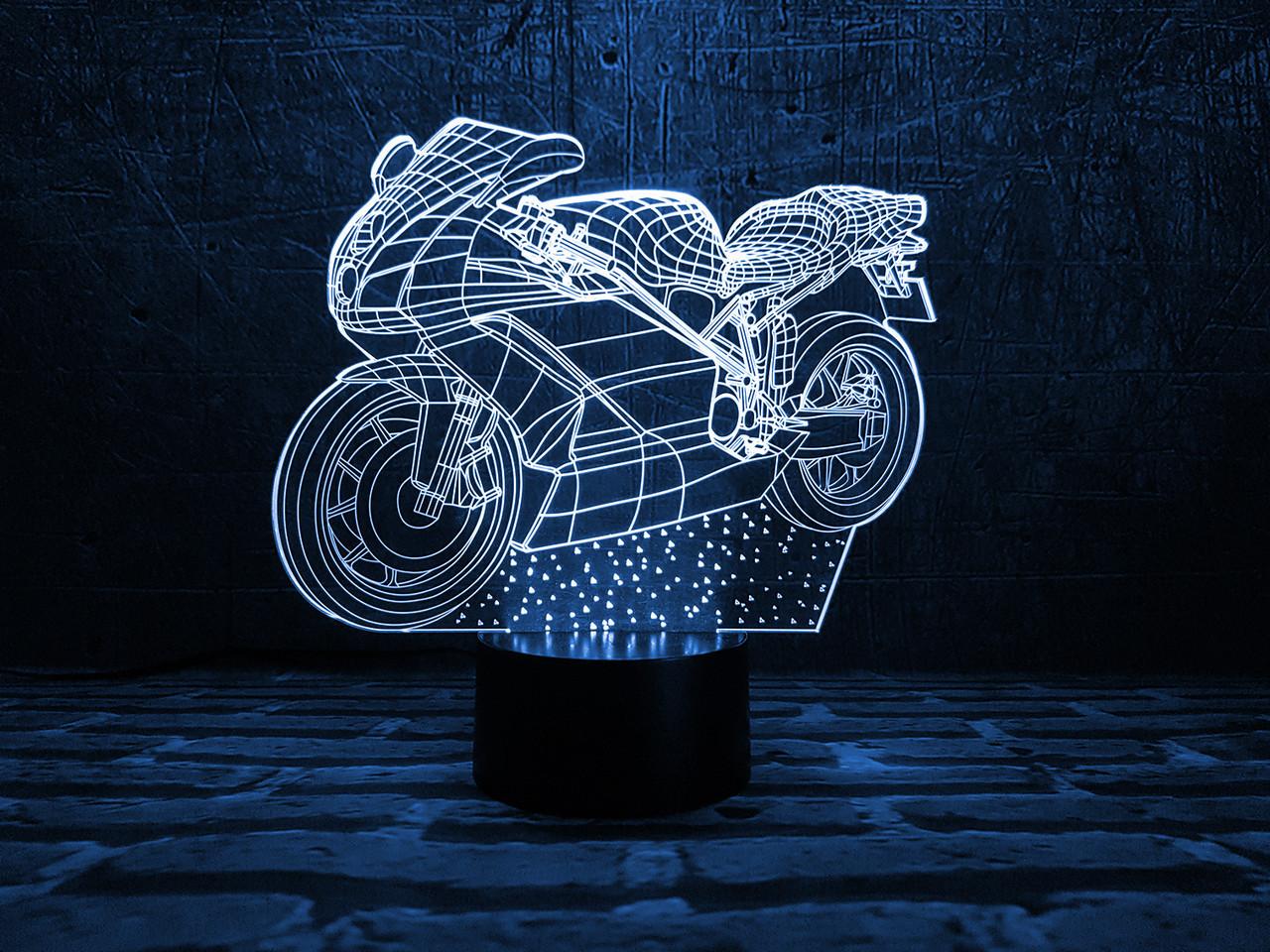 """Детский ночник - светильник """"Мотоцикл 2"""" 3DTOYSLAMP"""