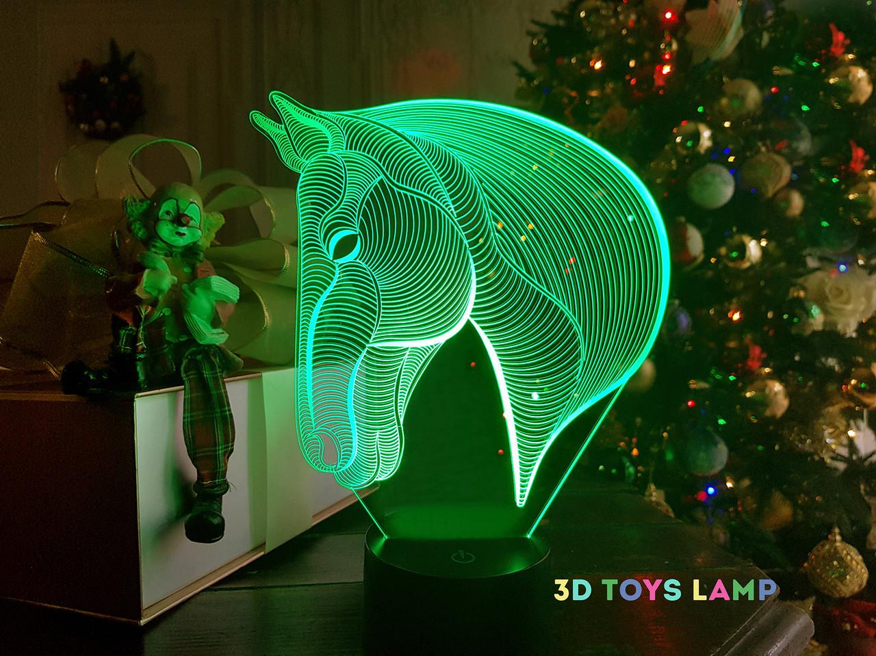 """Детский ночник - светильник """"Лошадка 3"""" 3DTOYSLAMP"""