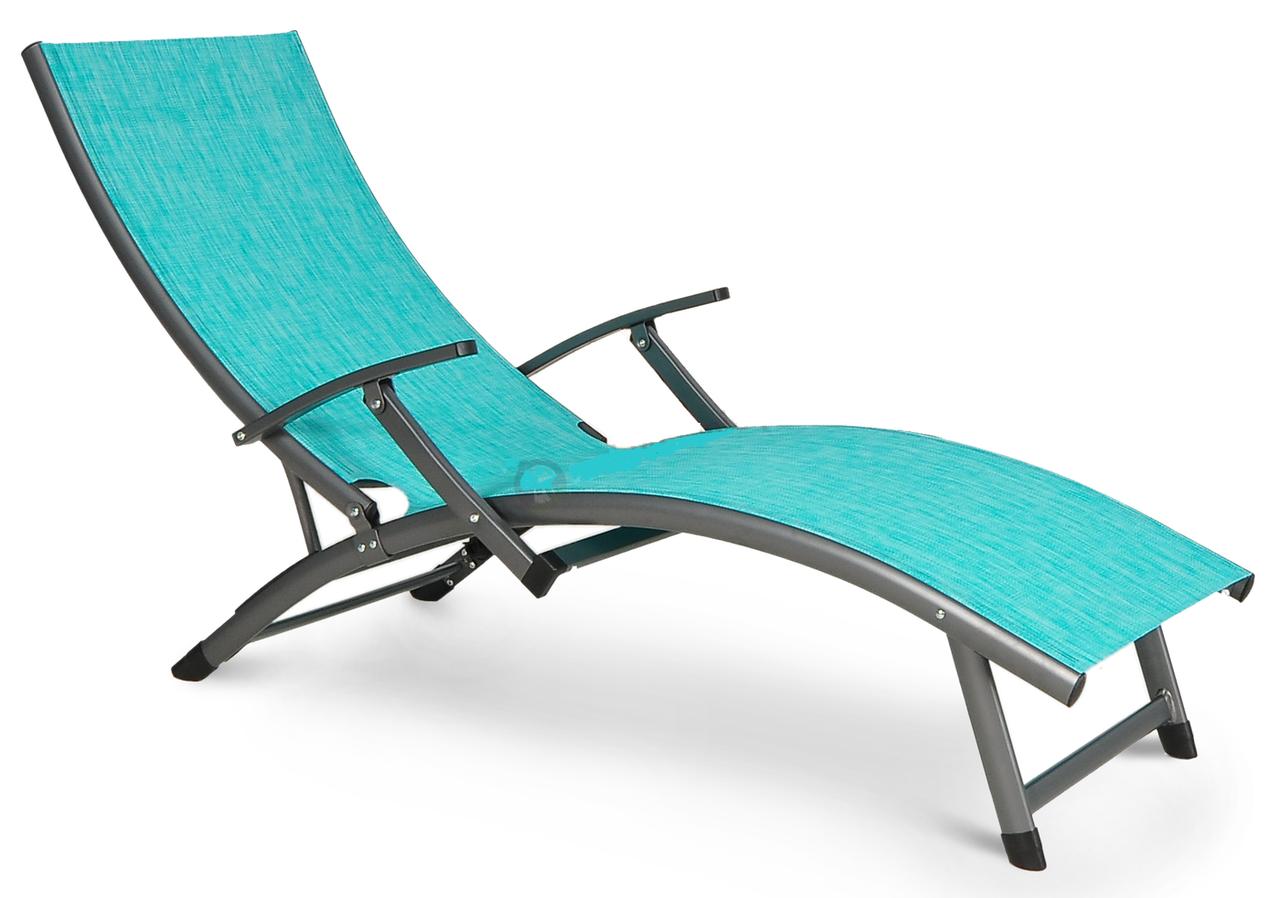 Шезлонг для пляжа алюминиевый Relax синий