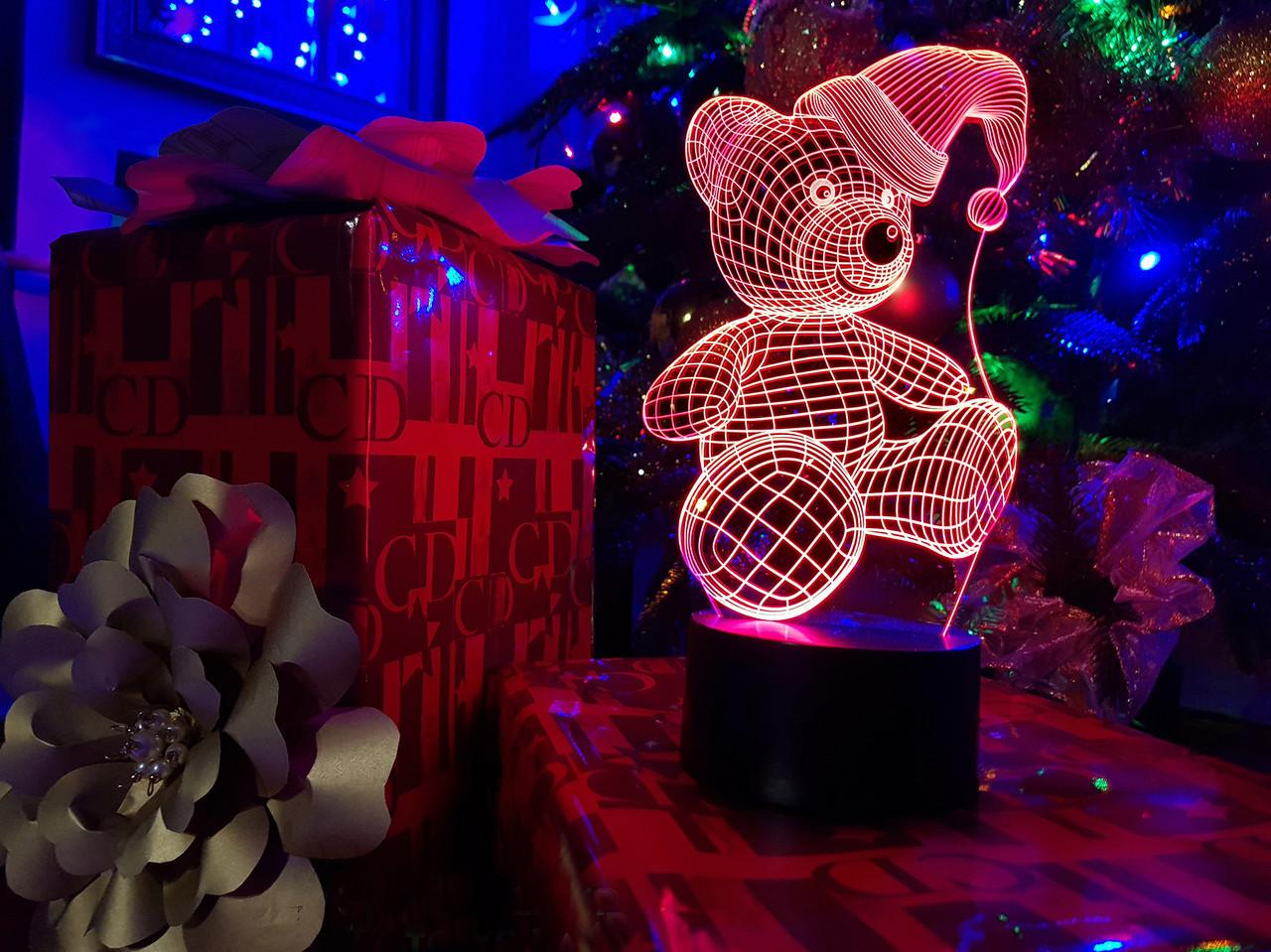"""Детский ночник - светильник """"Мишка (новогодний)"""" 3DTOYSLAMP, фото 1"""