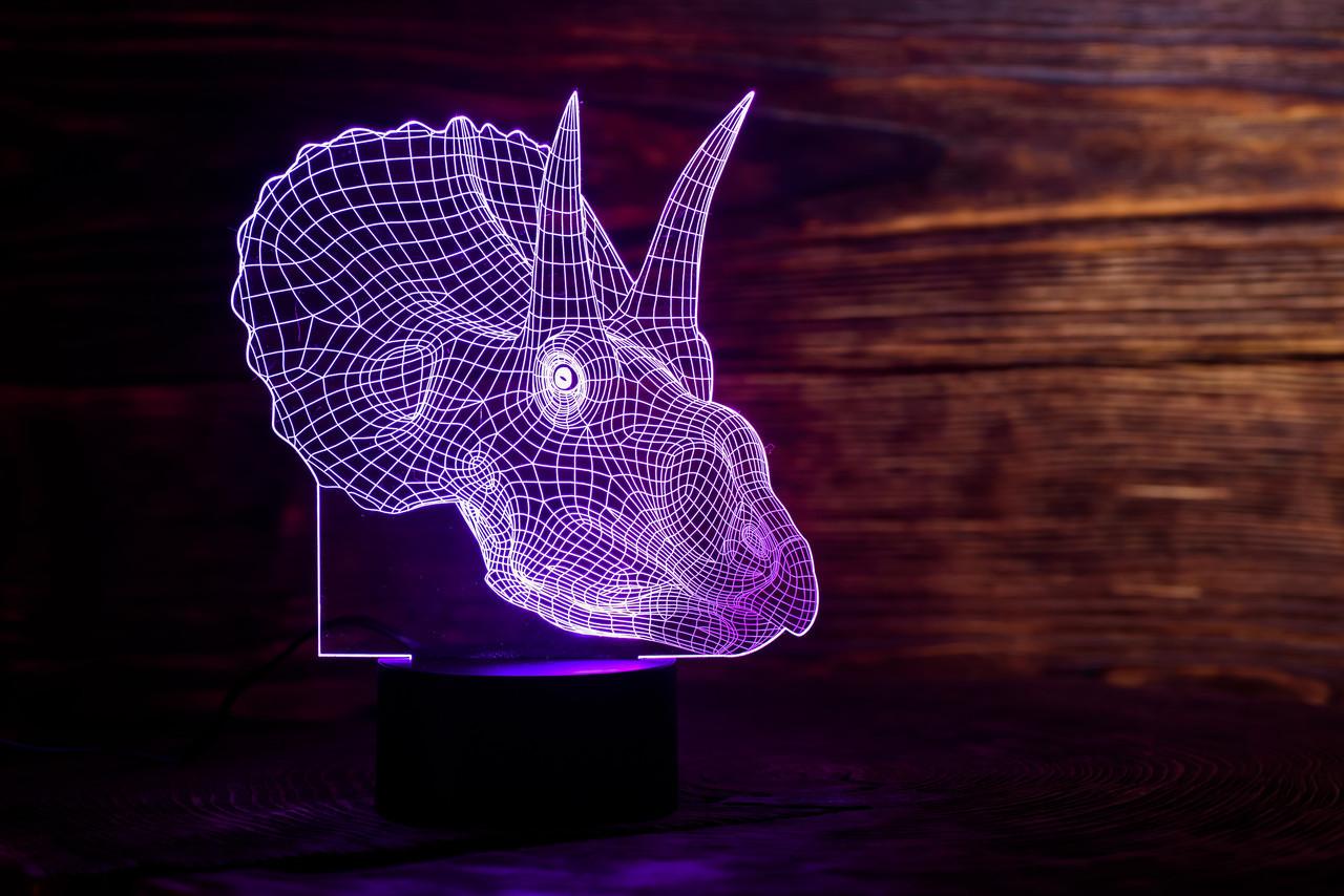 """Детский ночник - светильник """" Трицераптор"""" 3DTOYSLAMP, фото 1"""