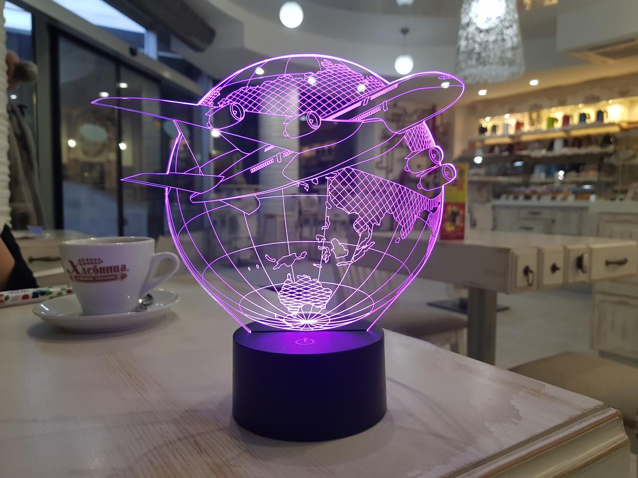"""Детский ночник - светильник """"Самолет 3"""" 3DTOYSLAMP"""